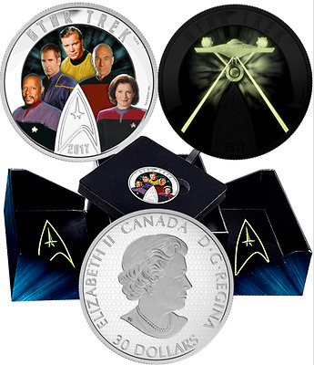 2017 Star Trek Five Captains Glow-in-Dark $30 2OZ PureSilver Proof Coloured Coin