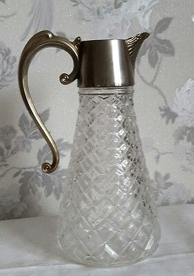 A Large Vintage Cut Glass with Silver Plate Claret Jug