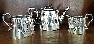 A Beautiful Victorian 3 Piece Silver Plated Tea Service