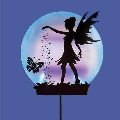 Blue & Purple Acrylic Solar Globe Garden Stake Light Fairy Butterfly Silhouette