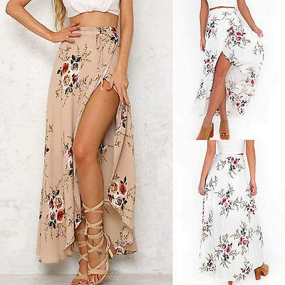 UK Womens High Waisted Floral Bodycon Slit Ladies Summer Long Maxi Skirt Dresses