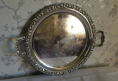 A Large Vintage Silver Plated Tray, Heavy Piece, Ornate Rim