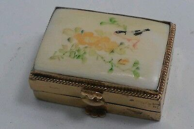 Gold Over Silver Vermeil Scrimshaw Pill Box Carved Bird Design Signed 'BPS 830'