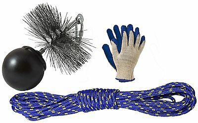 Chimney Flue Sweeping Cleaning Kit Unblocking Brush Set With Ball, Rope 5 Sizes