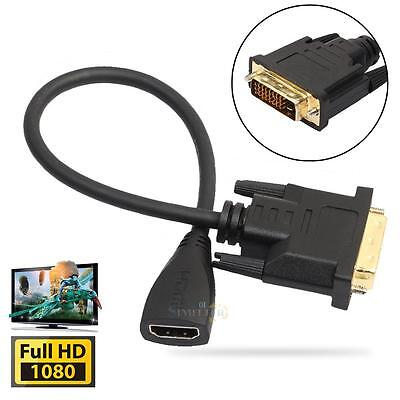 DVI-D Male 24+1 pin to HDMI Female 19-pin HD HDTV Monitor Display Adapter 1080P