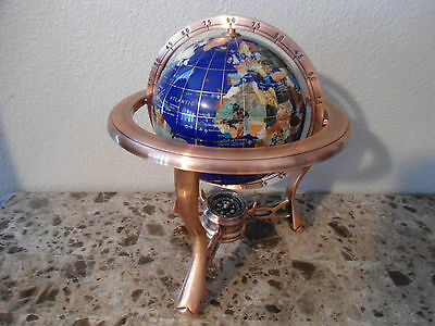 Globe Vtg Gemstone Copper Brass Clawfoot Compass World Map
