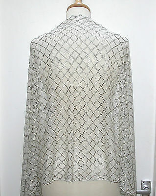Lovely 1920's White And Silver Assuit Shawl. Unusual Lattice, Criss-Cross Design