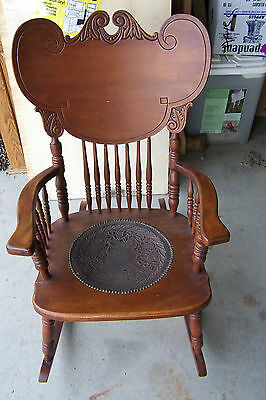 Antique Curved Back Rocking Chair ~ Leather Tack Seat w/ Garden & Spider Web