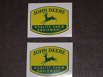 "JOHN DEERE LOGO 1.75"" QFE 1950's PRINTED IN USA (2) TWO DECAL STICKER TRACTOR"