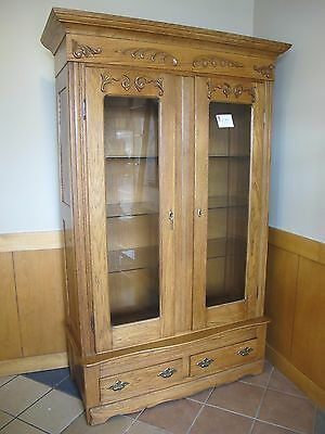Antique China or Gun Cabinet OAK Lighted 84x50x20