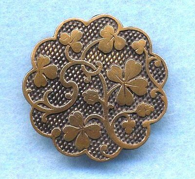 Antique Button…Pretty Scalloped Brass with Clovers Shamrocks…1&1/16""