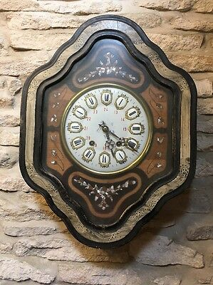 Antique French Comtoise Strike  Spring Driven Vineyard Wall Clock