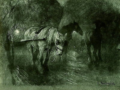 Antique KEMP - WELCH Old Equestrian Art Print LABOURERS OF THE NIGHT Farm Horse