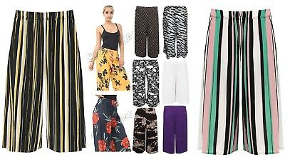 Ladies Womens Elasticated Printed Baggy Wide Leg Culottes Shorts Plus Sizes