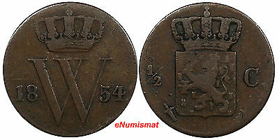Netherlands William III Copper 1854 1/2 Cent KM# 90