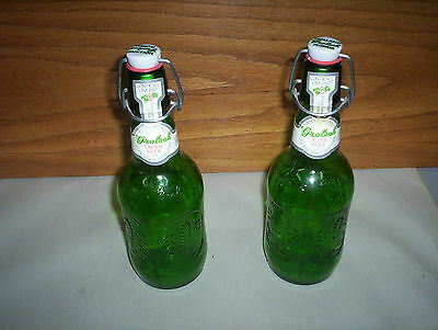 Lot of 2 Grolsch Green Beer Bottles Swing Top One Pint Glass Holland Imported