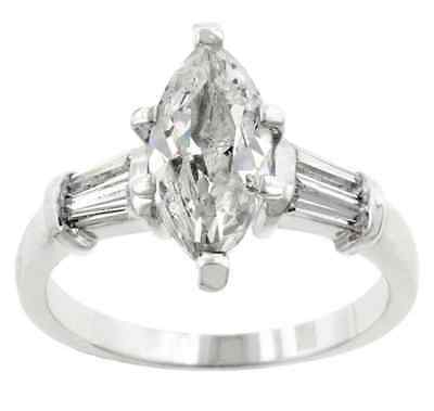 Marquise 14K White Gold GB 2.0ct Simulated Diamond Size 7 Engagement Ring G49