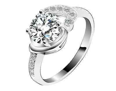 Half Knot Solitaire White Gold GP Simulated Diamond Size 8 Engagement Ring S80