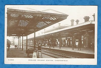 Old Vintage 1911  Rp  Postcard  Midland Railway Station  Chesterfield