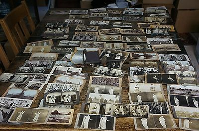 92 Stereoviews Some Very Rare W/ Stereoscope Lots Of Vaudeville Acts