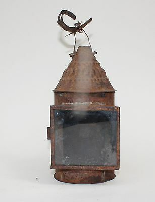 ANTIQUE 18th / 19th century TIN LANTERN Early Lighting Rushlight candlestick