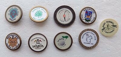 JOB LOT of 9 Collectible Golf Ball Marker's