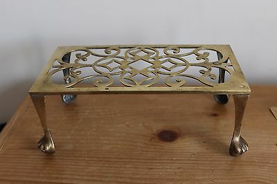 Vintage ANTIQUE  Brass Trivet BALL AND CLAW