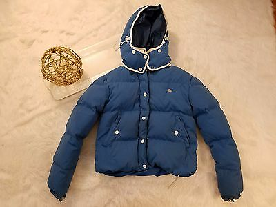 Lacoste Live Unisex Kids Puffer Coat Blue Removable Hood Winter Youth Medium