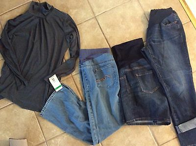 Lot Of Women's Maternity Clothes Shorts, Top Jeans And Capri Jeans Medium Size