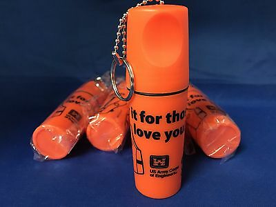 Lot of 5 - Orange Floating Key Chain w/Compartment Water Safety