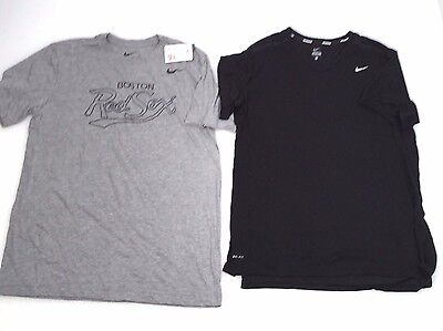 Lot of 2 Nike Men's Short Sleeve T-Shirts Heather Gray Boston Red Sox Black Sz L