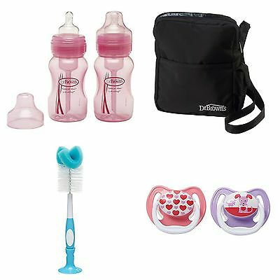 Dr. Brown's Baby Shower Gift Set 2 Bottles, Insulated Tote, Brush & 2 Pacifiers