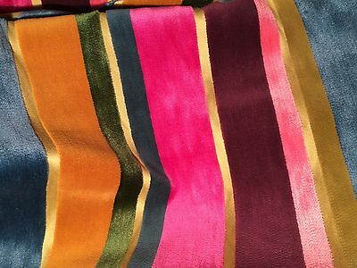 PIERRE FREY Striped Velvet pink teal mustard soft contemporary viscose 2+ yards