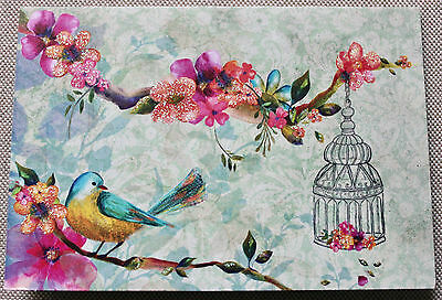 Papyrus Blank Note Cards - Beautiful Bird Floral with Glitter - 4 Unused Cards