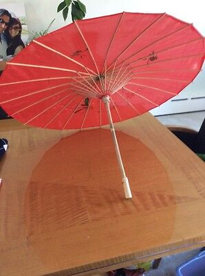 """Asian Japanese Chinese Large Umbrella Parasol Sun Red  Hand Made & Painted 32"""""""