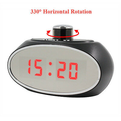 WIFI Alarm Clock Camera 330 degree Panning Hidden Camera spy nanny cam 1080p HD