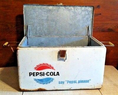 "Vintage Pepsi-Cola --- Say ""Pepsi, Please"" White Steel Cooler w/ Bottle Opener"