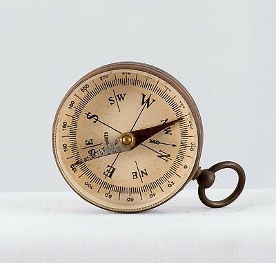 """Vintage Collectible Brass Field Compass 1 3/4"""" Dia. Made in Germany"""