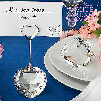 Crystal Heart Shape Place Card Holder - Wedding Favour | Table Decoration Choice