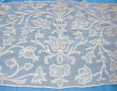 "Exceptional 19thC Antique Handmade Milanese Lace Flounce- 17.5"" wide x 132"" Long"