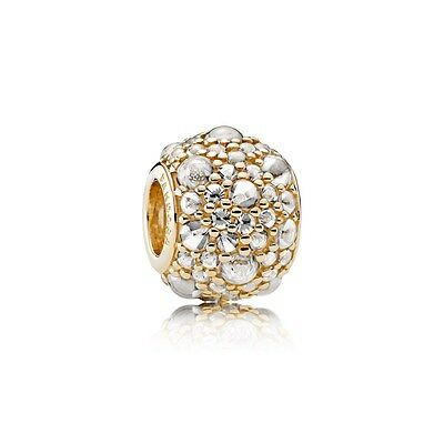 New Authentic Pandora Shimmering Droplets, 14K Gold & Clear CZ 751004CZ