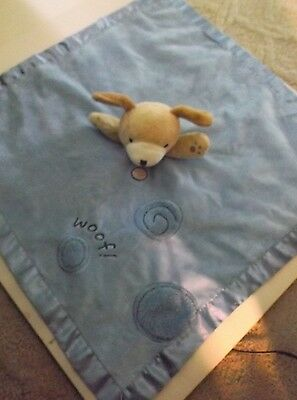 Carters blue puppy dog WOOF security blanket lovey  head rattles  EUC satin trim