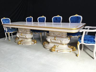 Exclusive French Louis Xvi Style Dining Set Pro Hand French Painted & Polished
