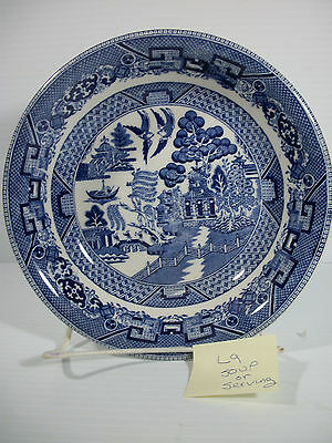 """Buffalo China Restaurant Ware 7 1/2"""" Soup Serving Bowl Blue Willow USA Vintage"""