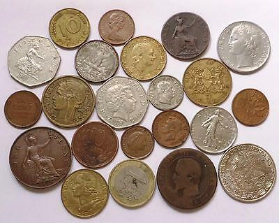 Foreign World Coins With Silver,  Lot Of 21  *dates:1868 To Present*