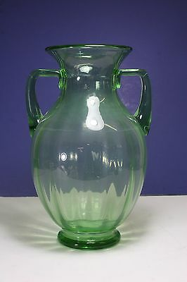 Antique Green Glass Vase Two Handles Olympia Glass