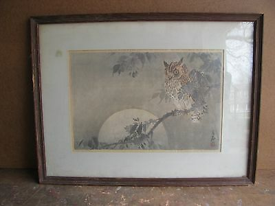 Antique 1800's Framed Japanese Woodblock Print Of An Owl