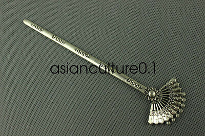 Chinese collection old Tibetan silver fan Hairpin LMQ2