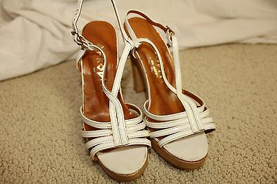 vtg 70's AFRODITI white leather & wood sandals heels womens vintage shoes sz 5