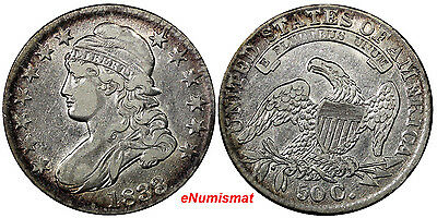 US Silver 1833 CAPPED BUST 50 CENTS Half Dollar Ch.VF Condition #10120
